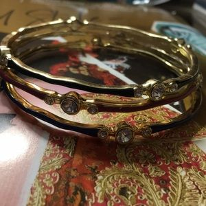 Skinny gold & enamel bangle bracelet set NWT